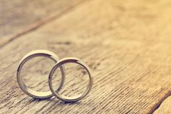 Pastel image with wedding rings - stock photo