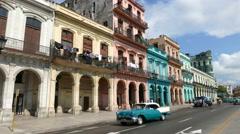 Havana Cuba Paseo de Marti Classic Cars Stock Footage