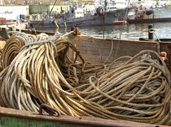NET and ropes for fishing boat Stock Photos