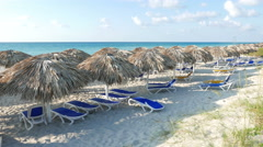 Varadero Cuba Beach Cabanas Stock Footage