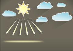 Weather template of sunny day, dark - stock illustration