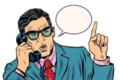 Business boss talking on the phone - stock illustration