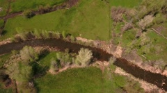 Gorgeous aerial shot above a river in green springtime Stock Footage