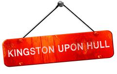 Kingston upon hull, 3D rendering, a red hanging sign - stock illustration
