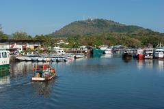 Industrial Commercial Port of Phuket in Thailand - stock photo
