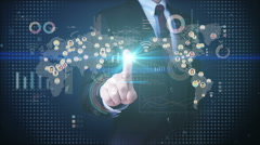 Businessman touching connected people, communication technology with diagram. Stock Footage