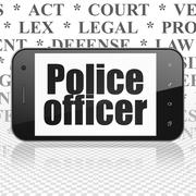 Law concept: Smartphone with Police Officer on display - stock illustration