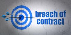 Law concept: target and Breach Of Contract on wall background - stock illustration