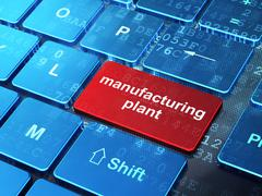 Industry concept: Manufacturing Plant on computer keyboard background - stock illustration