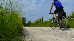 Cycling on country road - back view Stock Footage