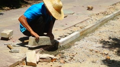 Chinese workers in road construction Stock Footage