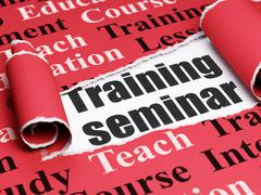 Education concept: black text Training Seminar under the piece of  torn paper - stock illustration