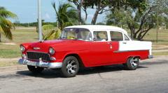 Red Classic Car Varadero Cuba Stock Footage