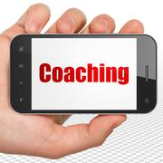 Learning concept: Hand Holding Smartphone with Coaching on display - stock illustration