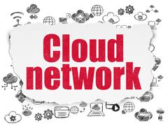 Cloud networking concept: Cloud Network on Torn Paper background - stock illustration