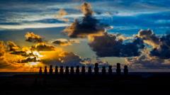 Time lapse of sunrise at Ahu Tongariki on Easter Island - stock footage