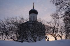 Church of Intercession on Nerl in the Snow - stock photo