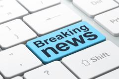 News concept: Breaking News on computer keyboard background - stock illustration