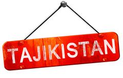 Tajikistan, 3D rendering, a red hanging sign - stock illustration