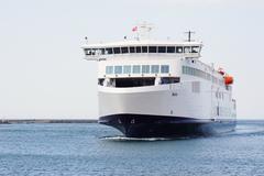Scandlines hybrid ferry ship Berlin arriving in Rostock Warnemunde - stock photo