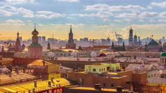 Moscow panorama. 4k timelapse. Aerial view. Kremlin and downtown. Stock Footage