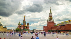 Kremlin and Red Square. Crowd of people. Time lapse. Stock Footage