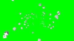 Flying dice – seamless loop, overlay, green screen - stock footage