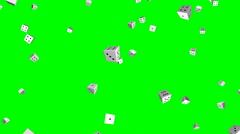 Falling dice – seamless loop, overlay, green screen - stock footage