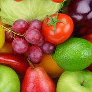 Background  of vegetables and fruits Stock Photos