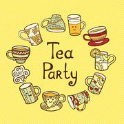 Tea Party Card with doodle cups Stock Illustration