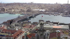 View from the Galata tower on the Golden Horn in Istanbul Stock Footage