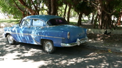 Parked Classic Blue American Car Varadero Cuba Stock Footage