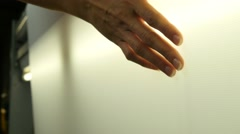Woman hand touching textile in factory Stock Footage
