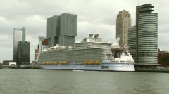 Worlds largest cruise ship moored at the Rotterdam cruise terminal Stock Footage