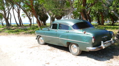 Parked Classic Green American Car Varadero Cuba Stock Footage