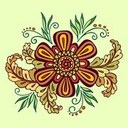 Floral Outline Calligraphic Pattern - stock illustration