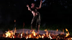 Fire dancer in the night Stock Footage
