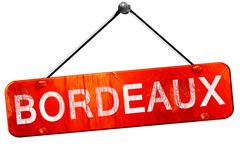 bordeaux, 3D rendering, a red hanging sign - stock illustration