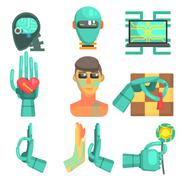 Artificial Intelligence Icon Set Stock Illustration