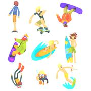 Extreme Sports Illustration Set - stock illustration