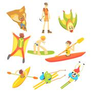 Extreme Sports Sticker Collection - stock illustration