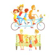 Family Weekend Outdoors Illustration - stock illustration
