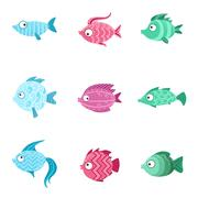 Fantastic Fish Set Stock Illustration