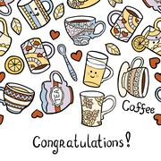 Congratulation card with doodle tea accessories on white background - stock illustration