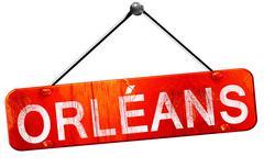 Orleans, 3D rendering, a red hanging sign Stock Illustration