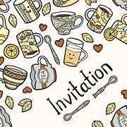 Invitation card with doodle tea accessories on light dotted background - stock illustration