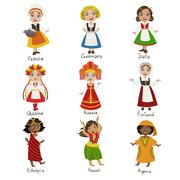 Girls In National Costumes Set Stock Illustration