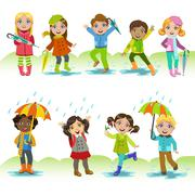 Children Enjoying The Rain - stock illustration