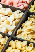 Italian pasta assortment grades Stock Photos