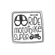 Ride Motorbike Vintage Emblem - stock illustration